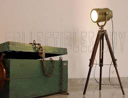 antique industrial spotlight nautical studio photography tripod