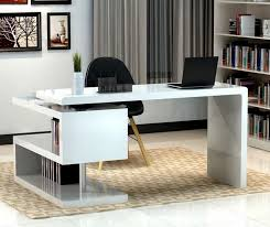 modern home office designs. Modern Home Office Design Displaying High Gloss Finish White Freestanding Laptop Desk Black Leatherette Equipped Designs