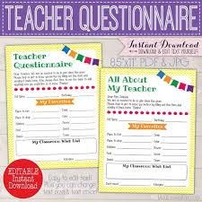Free Printable School Forms New Custom Teacher Gift Ideas Questionnaire Printable Room Mom Etsy