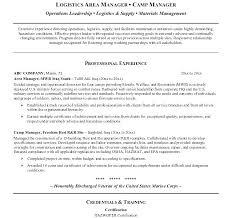 Material Management Resume Sample Logistics Resume Sample Sample Logistics Manager Resume For