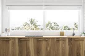 Wooden Kitchen Countertops Under Window Close Up Stock Illustration