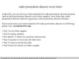 Director Cover Letter Radio Promotions Director Cover Letter