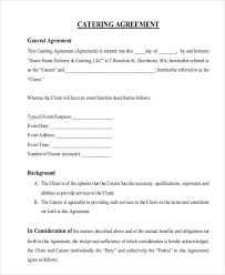 Catering Contract Agreement Interesting 48 Catering Contract Form Samples Free Sample Example Format Download