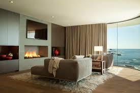 modern fireplace rug sofa curved window beach house in laa beach california