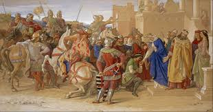 piety the knights of the round table about to depart in quest of the holy grail by scottish artist william dyce 1849