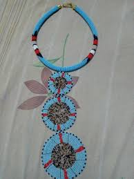 Masai Design Light Blue Masai Design Necklace Zulu Fashion Necklace Mid Long Necklaces Blue None For Her Beads Statement Pieces