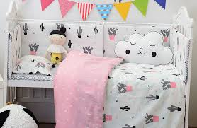 muslinlife lovely cactus triangle baby gril crib bed pers fashion baby bedding set girls cotton nursery bedding 130 70cm