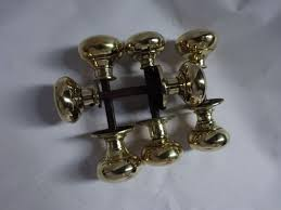 one 1 vintage pair of heavy brass door knobs handles for rim lock reclaimed for