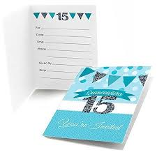 Invitation Quincenera Quinceanera Teal Fill In Birthday Party Invitations 8 Count