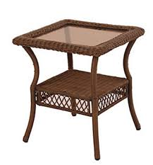 weather wicker patio square side table