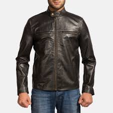 mens liberty black leather biker jacket 1