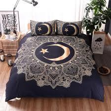 golden mandala flowers star moon duvet cover black dark blue bedding set soft quilt cover single double bed home decor youth bedding designer