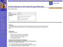 An Introduction To The Natural Logarithm Ln Lesson Plan