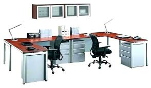 Office desk for two Matching Telepathie Two Person Shaped Desk Office Desks Hom Telepathie