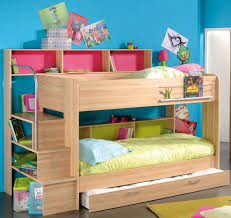 Bedroom: Unfinished Oak Wood Bunk Bed For Kids With Trundle And Storage  Shelves Perfect For