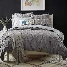 Organic Cotton Pintuck Duvet Cover + Shams - Feather Gray | west elm &  Adamdwight.com