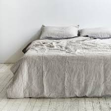 100 linen duvet cover in grey white stripe