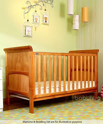 babyhug aspen wooden cot bed natural