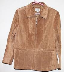 details about st johns bay khaki washable suede leather zip jacket womens petite large pockets