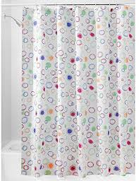 interdesign doodle fabric shower curtain extra long polyester shower screen with bright doodle pattern design multicoloured