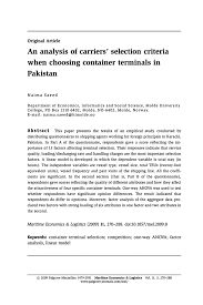 an analysis of carriers selection criteria when choosing inside
