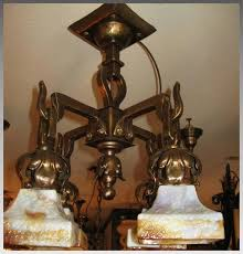 arts crafts chandelier with slag glass shades