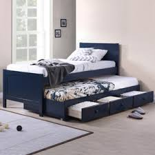 Bering Single Bed with Trundle and Storage (Single Bed Size, Blue Finish)