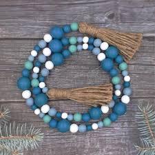 wood bead garland rustic chic decor