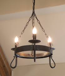 shepherd s crook 3 light round wrought iron chandelier in natural black with matching candle s