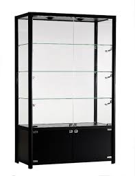 elb 1200 glass display with storage cabinet and led lighting 1980x1200x400 black