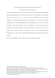 Psychological Criticism Pdf An Approach To Psychological Literary Criticism By Means Of