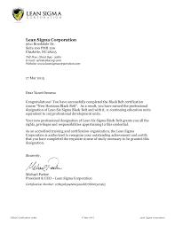 certification letter course certificate letter lean six sigma black belt