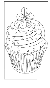 Cute Cupcakes Coloring Page Flower Topping