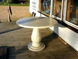inch round pedestal table huge solid wood handcrafted distressed ivory tall ta