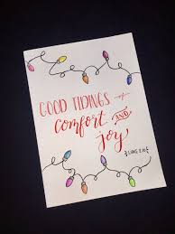Christmas Card Ideas With Lights Simple Hand Drawn Colored Pencil Lights Calligraphy Diy