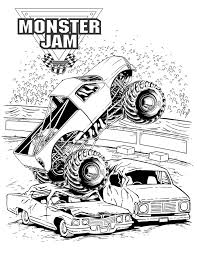 Monster Jam Crushing Cars Kids Coloring Pages Monster Truck
