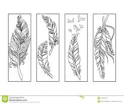 Bookmark Coloring Pages Feather Bookmarks Coloring Page Stock Illustration
