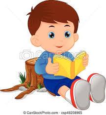 cute little boy reading book csp49208965