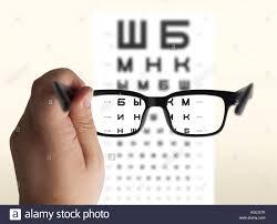 Hand Reflection Chart Eyeglasses In Hand For Eyesight Russian Cyrillic Test Chart