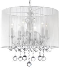 crystal chandelier with large white shades and 40 mm crystal