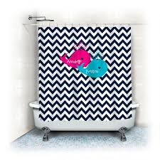 personalized shower curtain navy blue chevron with hot pink and turquoise whales with names