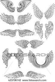 Heraldic 鳥 あるいは 天使翼 セット クリップアート切り張りイラスト絵画集