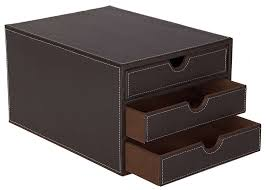 osco faux leather 3 sorter drawer brown co uk office s