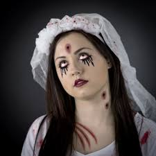 apply the base using our ghoulish halloween makeup kit and use make up gallery black cherry lipstick for the lips