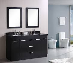 contemporary bathroom design ideas presenting black painted wooden vanity cabinet with double undermount sink under framed bathroom furniture popular design