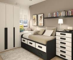 Black And White Teenage Boys Bedroom Furniture With Wall Mount Shelf
