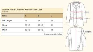 Tailored Sportsman Size Chart Equine Couture Childrens Addison Show Coat