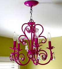 thrift chandelier spray painted hot pink