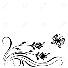 Flower And Butterfly Stencil Designs Decorative Floral Corner Ornament With Flowers And Butterfly