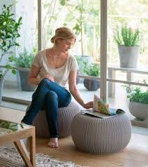 Balliram's <b>Fabric Pouf</b> (Finish Color - grey)